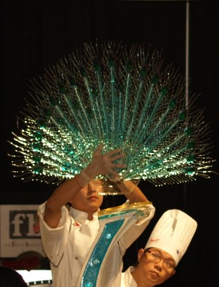 Anthony Qin from team china sugar peacock feathers world championships pastry
