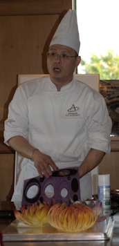 chef with chocolate mold