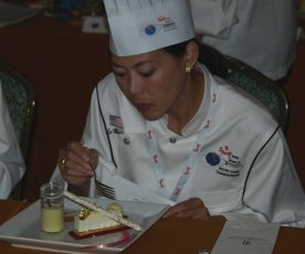 en ming hsu judging at the world pastry achampionships