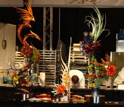 Team Usa chocolate and sugar and pastillage showpiece from the pastry championship